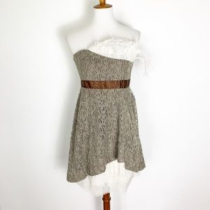 Anthropologie Ryu M Lace Taupe Strapless Dress